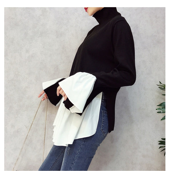 CHICEVER Patchwork Pullovers Knitted Sweater For Women Turtleneck Flare Sleeve Irregular Female Jumper Sweaters Tide-JetSet-JetSet