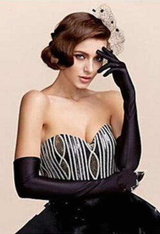 Classic Opera/Elbow/Wrist Stretch Satin Long Gloves-AE-JetSet