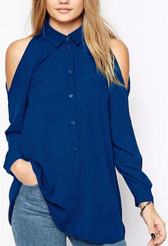 Hot Off the Shoulder Long Sleeve Shirt-Alessio Eno-JetSet