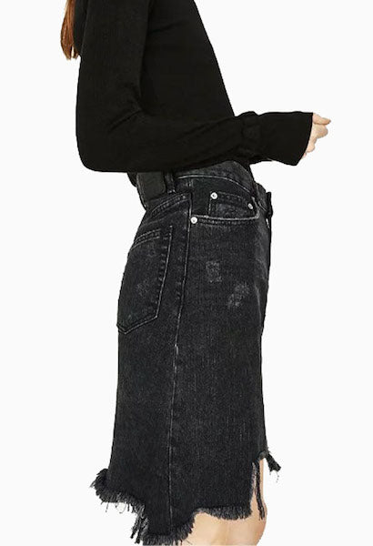 Asymmetrical Tassels Women Denim Short Skirt-AE-JetSet