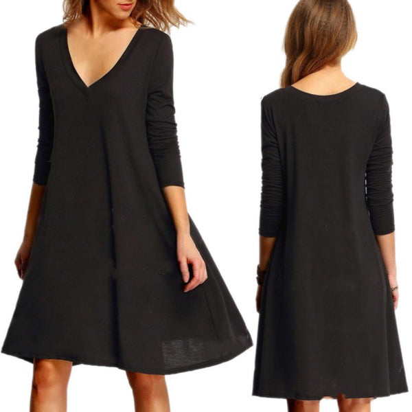 2018 Women's Elegant Casual Dress V Collar Collar Long Sleeve Black Dress for Women Ladies Solid Midi Shirt Dress Knee Length Y6-JetSet-JetSet