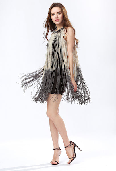 Lady Tank Ombre Draping Costume Metal Chain Neck Gradient Tassel Dresses Women Clothing 1920s Flapper Swing Fringe Mini Vestido-Alessio Eno-JetSet
