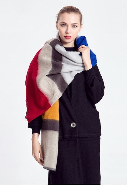 Mingjiebihuo Autumn and winter new scarf color wide stripes Europe and the United States Fan comfort shawl thick girls-JetSet-JetSet