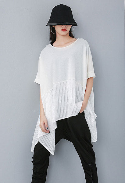 CHICEVER Summer Casual Patchwork Hit Color T-shirt For Women O Neck Batwing Sleeve Loose Plus Size Female Top Clothing 2019 New-JetSet-JetSet