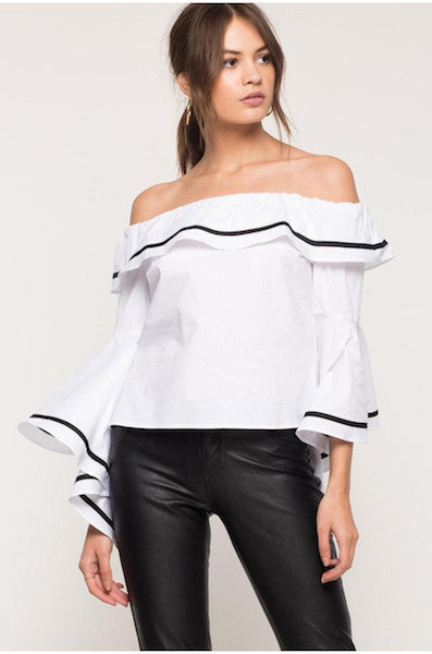 Off Shoulder Ruffled Long Sleeve Blouse-Alessio Eno-JetSet