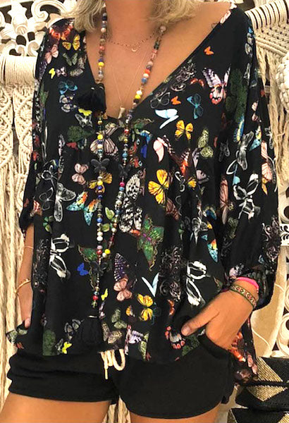 Women Blouse Casual Autumn Fashion Flower Print V Neck Long Sleeve Top blusen Plus Size S-5XL-JetSet-JetSet
