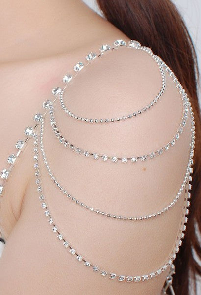 2Pcs 4 Rows Bridal Shoulder Chain Bra Straps Rhinestone Crystal Shoulder Strap Wedding Party Body Chain Jewelry-Alessio Eno-JetSet