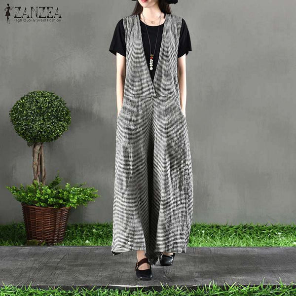 2019 Spring ZANZEA Casual Wide Leg Jumpsuits Women V Neck Strappy Vintag Plaid Check Rompers Elegant Work Loose Long Overalls-JetSet-JetSet