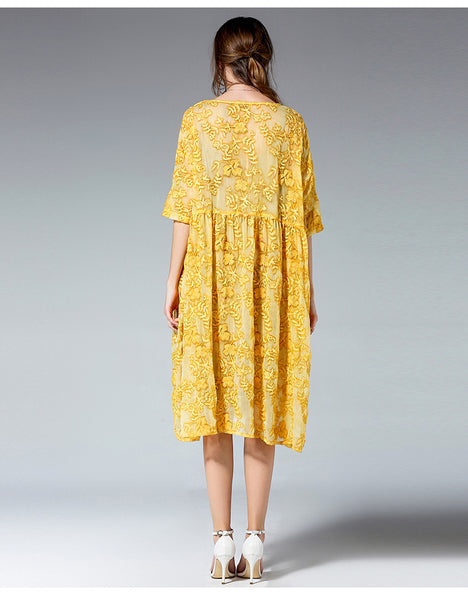 Top Design Two Pieces Set Vintage Lace Dress Female Half Sleeve Loose Dress 3XL 4XL Plus Size Women Dress Yellow Pink Color-JetSet-JetSet