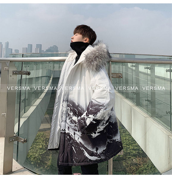 VERSMA Japanese Harajuku Graffiti Printed Hooded Padded Jacket Coat Men Parka Winter Retro Hip Hop Fur Collar Couple Jackets Men