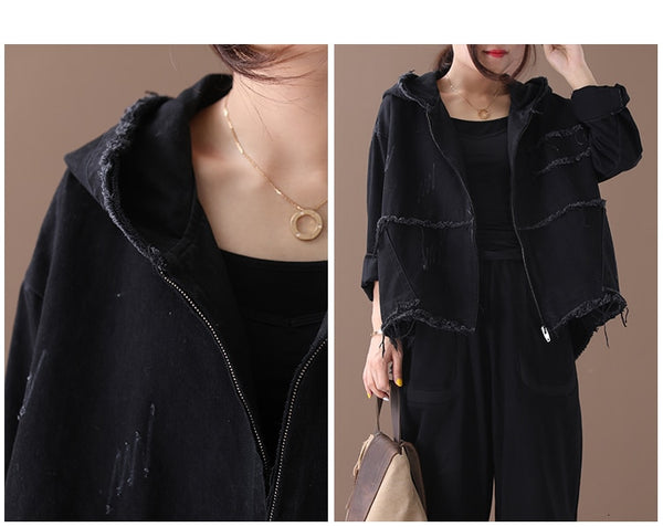 Max LuLu Fashion Korean Punk Streetwear Ladies Hooded Clothes Womens Vintage Autumn Jackets Oversized Denim Coats Plus Size