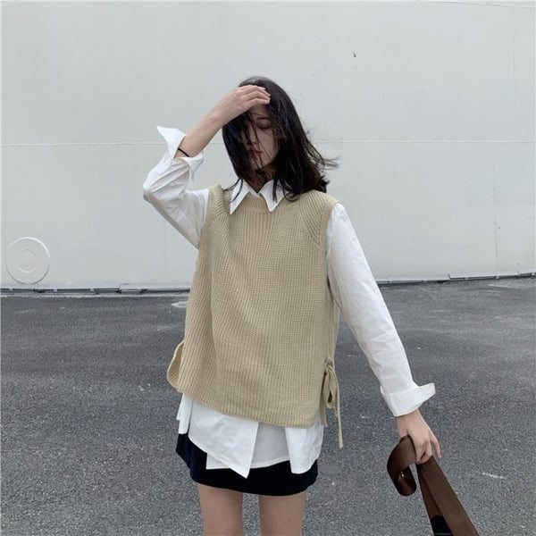 Sweater Vest Women Solid Side-slit Casual Loose Sweet Sweaters Womens Spring All-match Designed Korean Style O-neck Outwear New