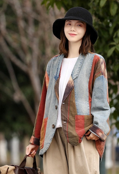 Spring Autumn Denim Coats Women Color Spliced Retro Tailored Collar Full Sleeve Single-Breasted Female Loose Patchwork Cardigan