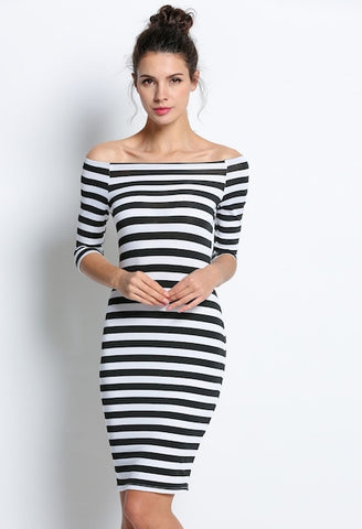 Black Half SleeveOff Shoulder Stripe Bodycon Stretch Party Pencil Dress-DL-JetSet