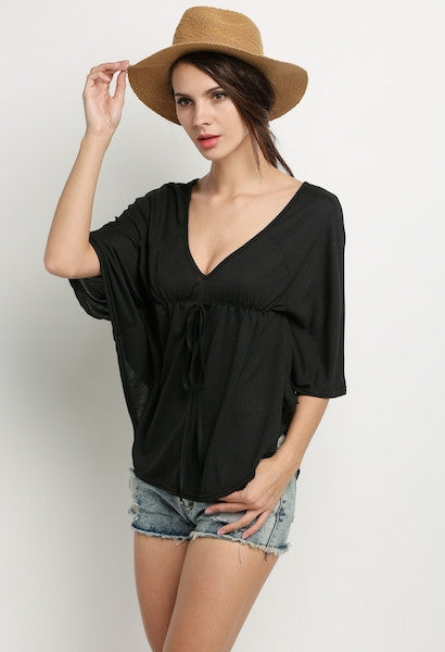 Stylish Casual Loose V-neck Blouse-DL-JetSet