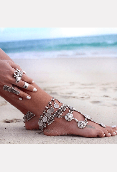 Vintage Style Coin Anklet-AE-JetSet