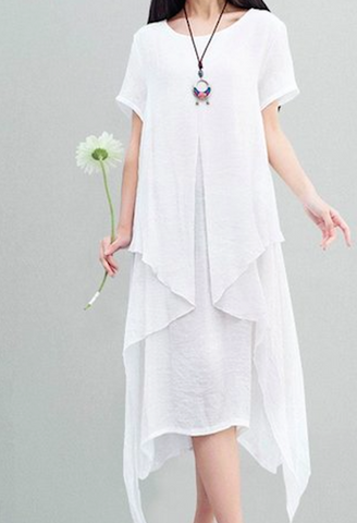 Casual Cotton Linen Dress-NC-JetSet