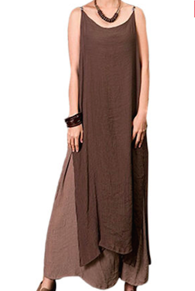 Strap Linen Maxi Dress-NC-JetSet