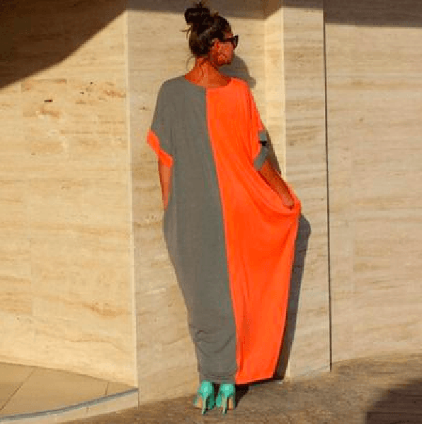Casual Boho Orange/Gray Caftan-WSB-JetSet