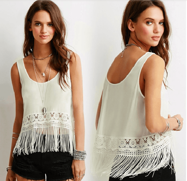 Stylish Sleeveless Fringe Crop Tops Blouse-DL-JetSet