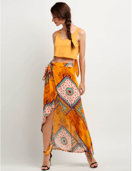 Yellow Bohemian Style Wrap Side Slit Asymmetrical Maxi Skirt-CND-JetSet