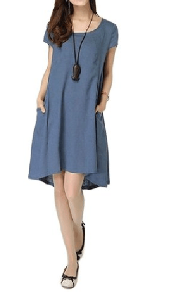 Casual Pocket Cotton Linen Dress-NC-JetSet