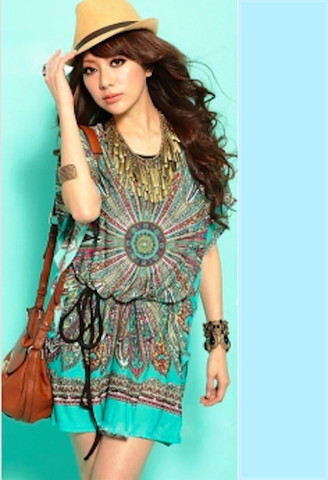 Retro Flower Print Tunic-DL-JetSet
