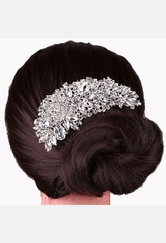Silver Crystal Pearl Hair Comb-MIB-JetSet