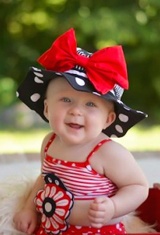 Black White Dot Sun Hat with Bow-Rae-Mi-Jamie Rae Hats-JetSet