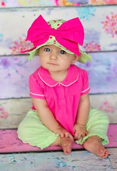 Candy Pink Aloe Dot Sun Hat with Candy Pink Bow-Rae-Mi-Jamie Rae Hats-JetSet