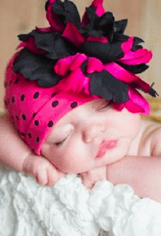 CANDY PINK BLACK DOT PRINT HAT WITH BLACK RASPBERRY LARGE PEONY-Jamie Rae Hats-JetSet