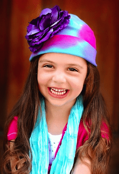 BLUE PINK PURPLE TIE DYE HAT WITH PURPLE LARGE ROSE-Jamie Rae Hats-JetSet