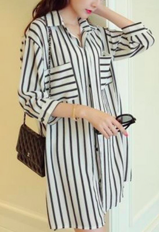 3/4 Sleeve Striped Long Blouse-Alessio Eno-JetSet
