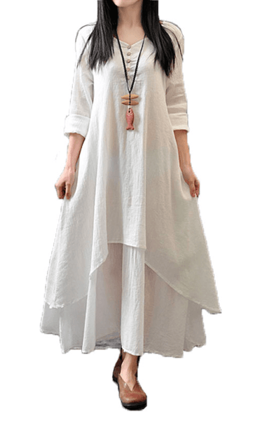 Autumn Casual Cotton Linen Dress-Alessio Eno-JetSet