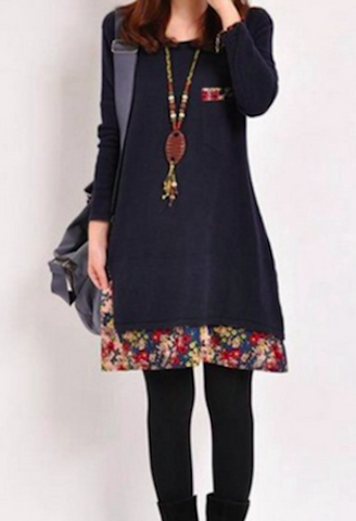 Autumn casual cotton floral hem dress-AE-JetSet