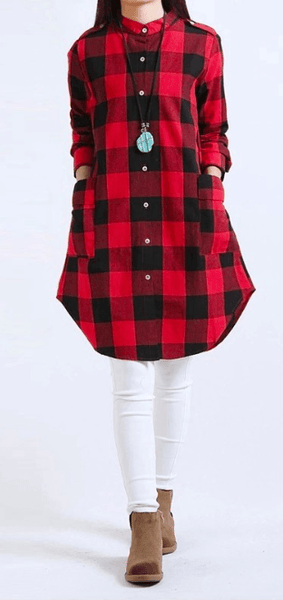Autumn Women Plaid Shirt-AE-JetSet