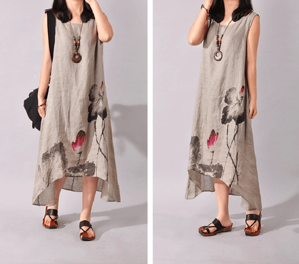 Lotus Ink Print Irregular Cotton Linen Dress-AE-JetSet