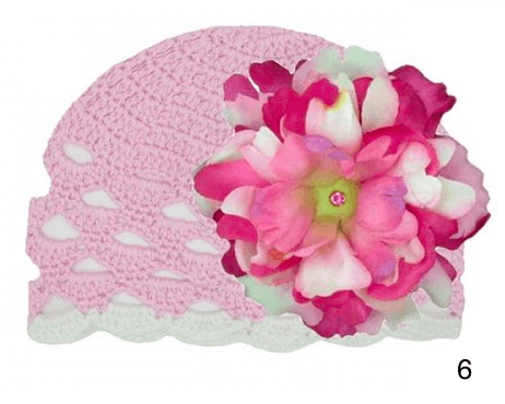 WHITE SCALLOPED CROCHET HAT WITH LARGE PEONY-Jamie Rae Hats-JetSet