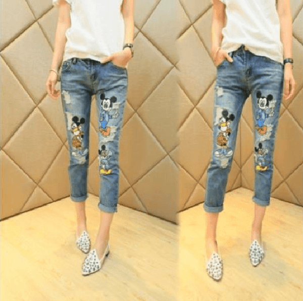 Stylish Fashion Cartoon Ripped Cute Capris Jeans-Alessio Eno-JetSet