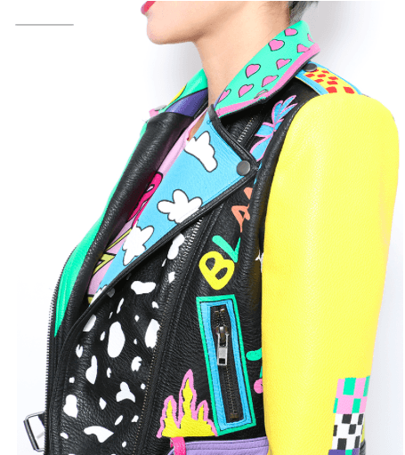 Printed PU Leather Fashion Jacket-Alessio Eno-JetSet