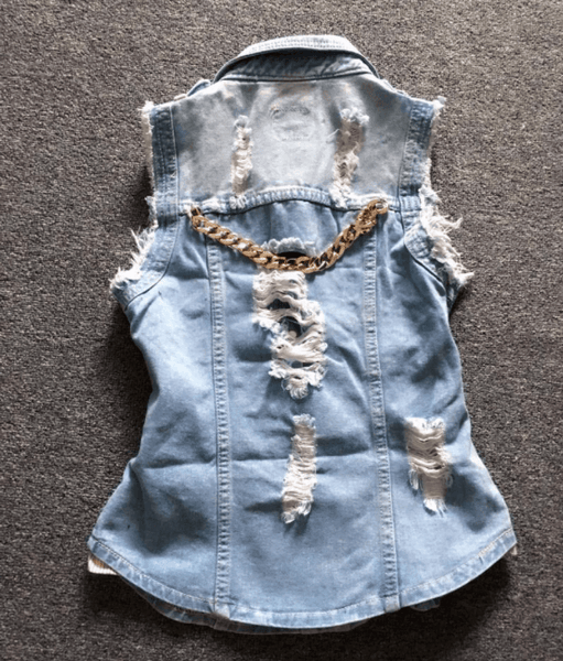 Overweight Beaded Paillette Hole Street Denim Vest-Alessio Eno-JetSet