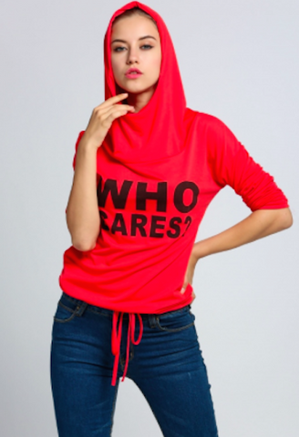 'Who Cares' girls hoodie-DL-JetSet