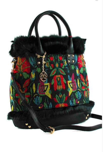 Fur And Canvas Printed Top Handle Tote Bag With Strap-FG-JetSet