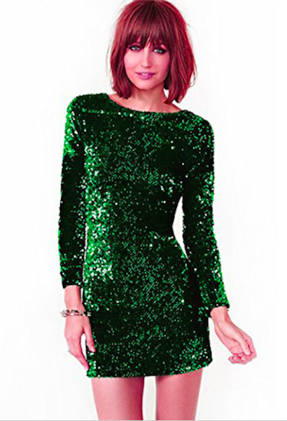 Green Sequined Party Bodycon Dress-Alessio Eno-JetSet