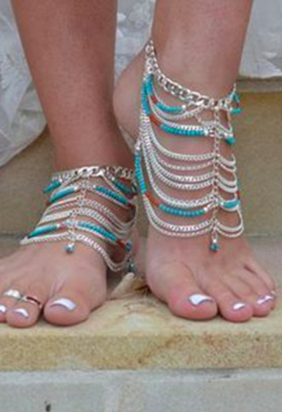 Long Tassel Multilayer Bohemia Bib Beads Anklets Barefoot Sandals-AE-JetSet