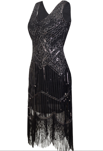 1920s Gatsby Flapper Sequin Fringe Embroidery Midi Summer Retro Black Dress-Alessio Eno-JetSet