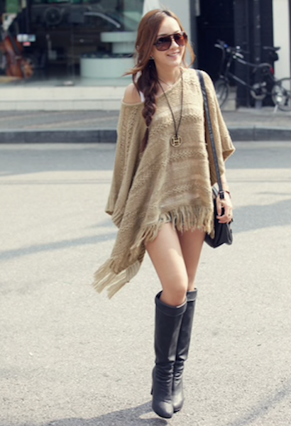 Bohemia Style Women Knitted Shawl Tassel Sweater Oversized Cape Poncho Autumn Loose Sweaters Pullover irregularity Cloak Tops006-JetSet-JetSet