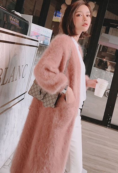 2018 New Winter women mink cashmere cardigan warm soft fluffy any size real nature 100% mink cashmere sweater cardigan-JetSet-JetSet