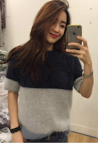 2018 simple color mosaic Plush mink cashmere thickened short sleeved sweater-JetSet-JetSet