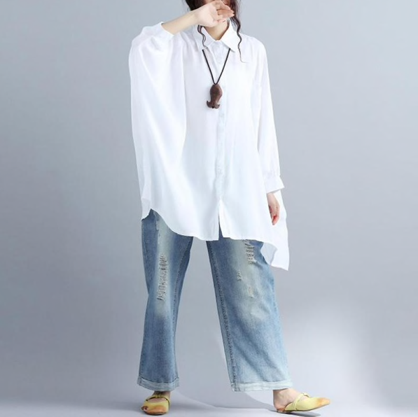 2018 ZANZEA Women Spring Turn-Down Collar Long Batwing Sleeve Buttons Irregular Loose Solid Work Shirt Baggy Blouse Plus Size-JetSet-JetSet
